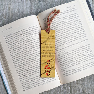 Music lover premium wooden engraved bookmark, Reader's collection