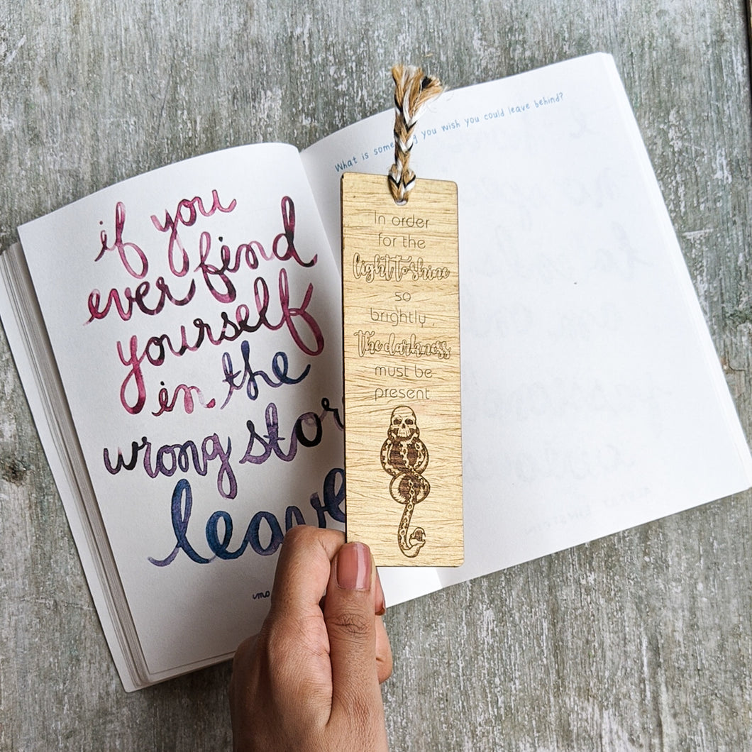 Inspirational quote premium wooden engraved bookmark, Reader's collection