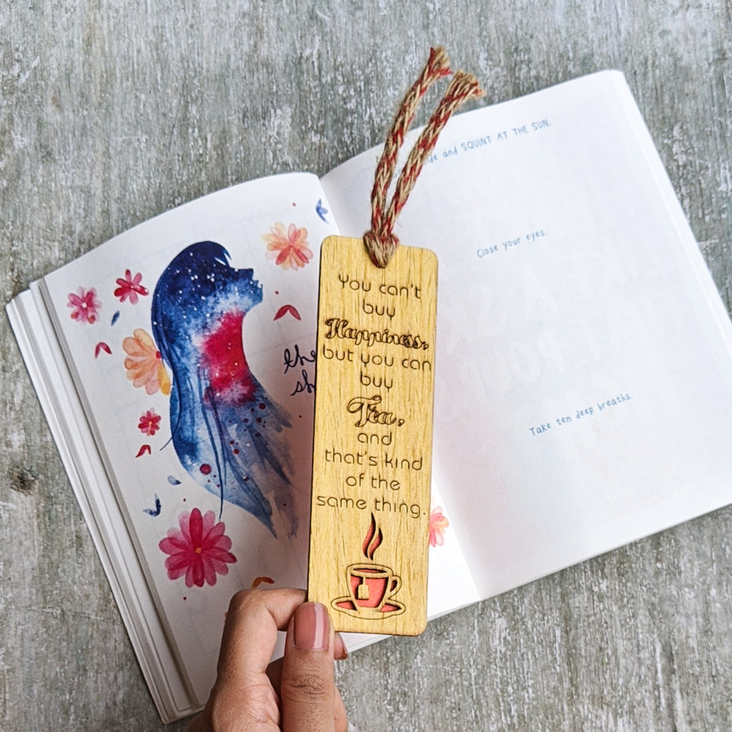 Tea lover premium wooden engraved bookmark, Reader's collection