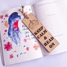 Load image into Gallery viewer, Keep calm and read premium wooden engraved bookmark, Reader's collection