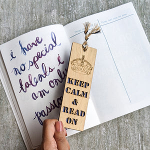 Keep calm and read premium wooden engraved bookmark, Reader's collection