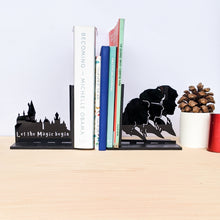 Load image into Gallery viewer, Harry Potter inspired Hogwarts and the Golden Trio laser cut bookends set | Book holder, Fantasy collection