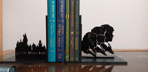 Harry Potter inspired Hogwarts and the Golden Trio laser cut bookends set | Book holder, Fantasy collection
