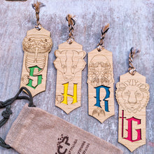 Load image into Gallery viewer, Harry Potter themed premium wooden engraved bookmarks set of 4, Fantasy collection