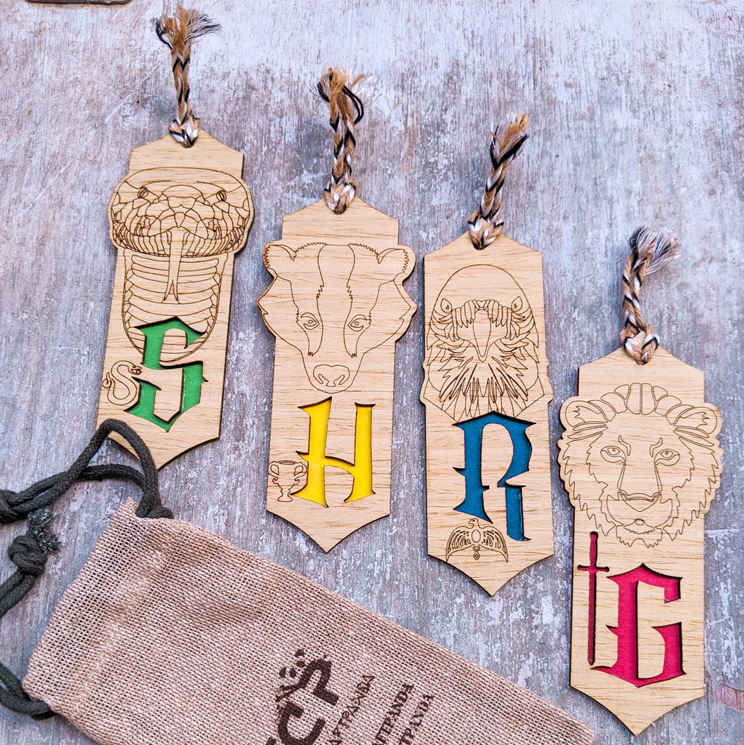 Harry Potter themed premium wooden engraved bookmarks set of 4, Fantasy collection