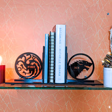 Load image into Gallery viewer, Game of Thrones inspired Ice & Fire laser cut bookends set | Book holder, Fantasy collection
