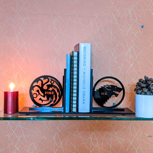Game of Thrones inspired Ice & Fire laser cut bookends set | Book holder, Fantasy collection