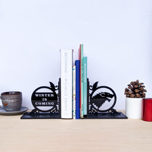 Load image into Gallery viewer, Game of Thrones inspired Winter is Coming and Stark house sigil laser cut bookends set | Book holder, Fantasy collection