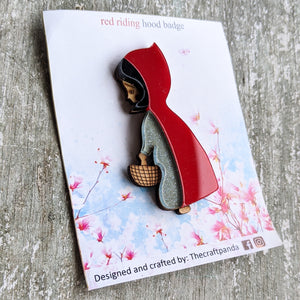 Laser cut Red Riding Hood brooch pin | Badge, Fantasy collection