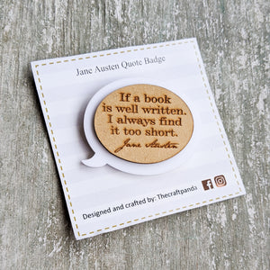 Laser cut Jane Austen inspired brooch pin | Badge, Reader's collection