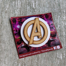 Load image into Gallery viewer, Laser cut Avengers inspired brooch pin | Badge, Fantasy collection