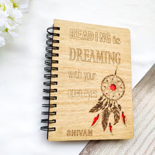 Load image into Gallery viewer, Laser cut and engraved wooden diary with dreamcatcher design and quote