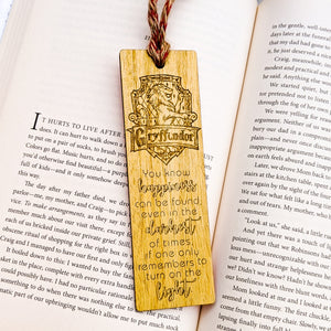 Harry Potter inspired Hogwarts house Gryffindor logo premium wooden engraved bookmark, Fantasy collection