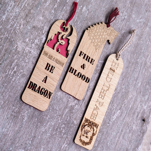 Game of Thrones themed premium wooden engraved bookmarks set of 3, Fantasy collection