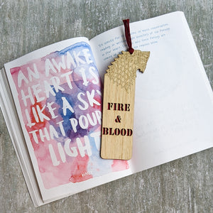 Game of Thrones theme Fire & Blood premium wooden engraved bookmark, Fantasy collection