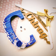 Load image into Gallery viewer, Set of a personalized hanger and monogrammed wooden initial for both pre-wedding and wedding outfit photoshoot