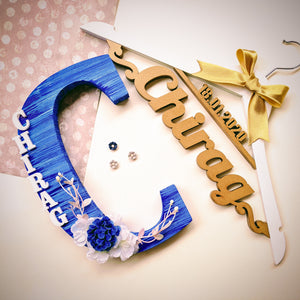 Set of a personalized hanger and monogrammed wooden initial for both pre-wedding and wedding outfit photoshoot