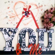 Load image into Gallery viewer, Decorative wooden 'You & me' wall hanging for couples with photos