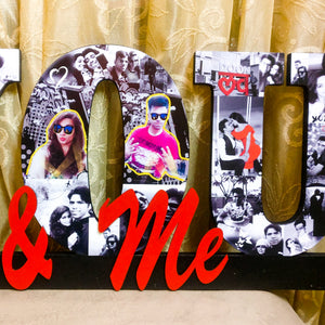 Decorative wooden 'You & me' wall hanging for couples with photos