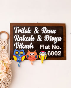 Couple and family wooden name plate with owls