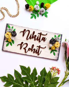 Couple and family wooden name plate with felt flowers