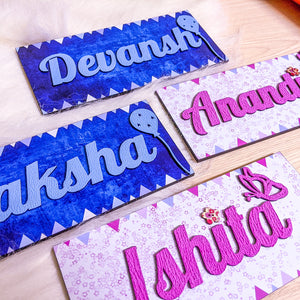 Customized kids designer handpainted wooden name plate