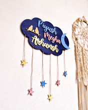 Load image into Gallery viewer, Cloud, moon and stars wooden wall hanging | Kids décor- Blue