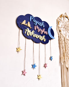 Cloud, moon and stars wooden wall hanging | Kids décor- Blue