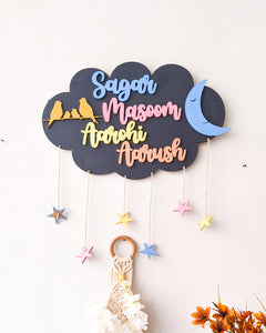 Cloud, moon and stars wooden wall hanging | Kids décor- Grey