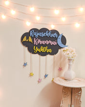 Load image into Gallery viewer, Cloud, moon and stars wooden wall hanging | Kids décor- Grey