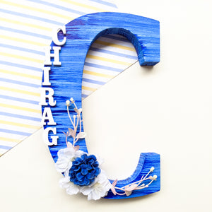 Wooden designer monogrammed initials decorated with flowers | Blue