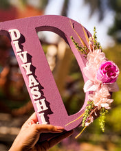 Load image into Gallery viewer, Wooden designer monogrammed initials decorated with flowers | Lavender