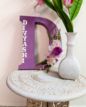 Load image into Gallery viewer, Wooden designer monogrammed initials decorated with embellishments | Lavender