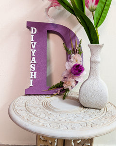 Wooden designer monogrammed initials decorated with flowers | Lavender