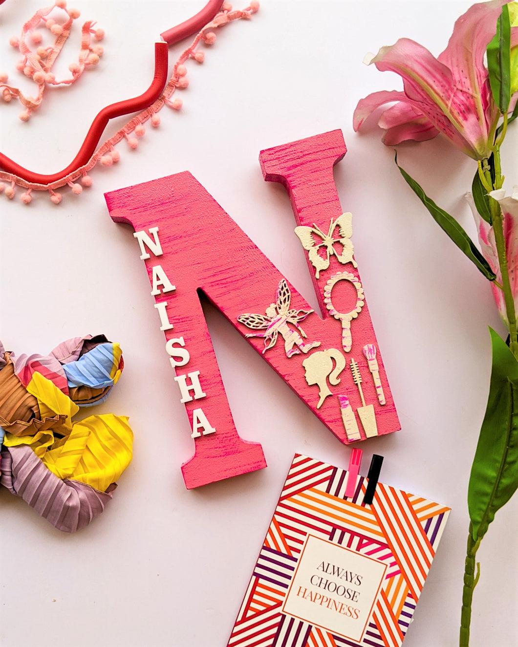 Wooden designer monogrammed initials decorated with embellishments | Pink