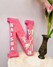 Load image into Gallery viewer, Wooden designer monogrammed initials decorated with embellishments | Pink