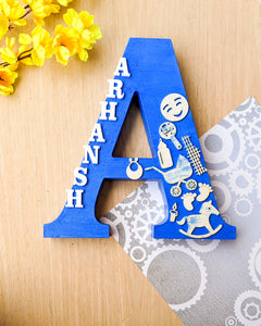 Wooden designer monogrammed initials decorated with embellishments | Blue