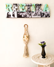 Load image into Gallery viewer, Customized name wall hanging with photos and flowers- perfect gift for your loved ones