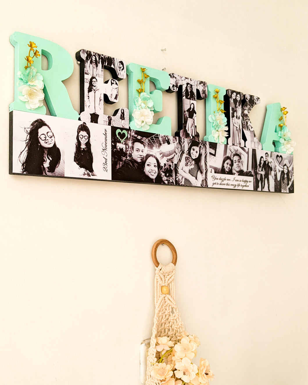 Customized name wall hanging with photos and flowers- perfect gift for your loved ones