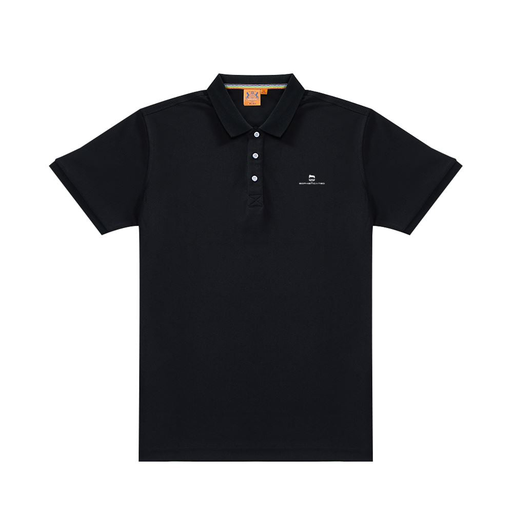 Customizable Men's Black Classic Polo Shirt Offset Heat Transfer Print