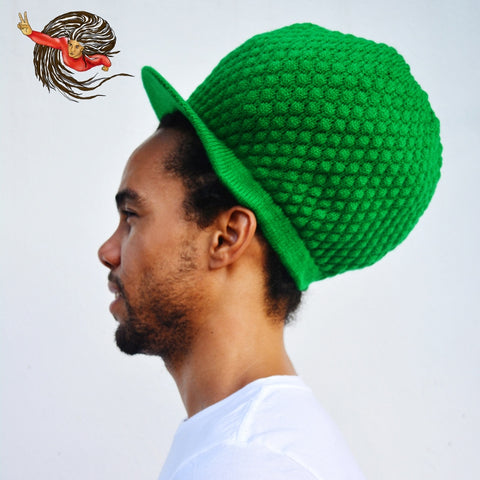 Super Dread Large Green Dreadlocks Peaked Tam Rasta Cap
