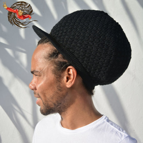 Super Dread Large Black Dreadlocks Peaked Tam