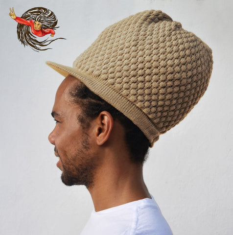 Super Dread Large Beige Dreadlocks Peaked Tam Cap
