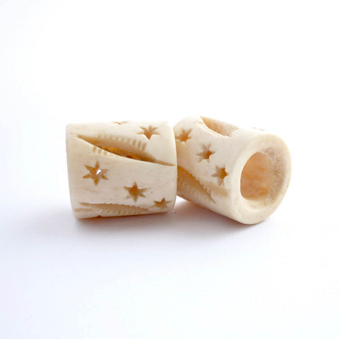 White Bone Tube Dreadlock Bead with Stars and Lines