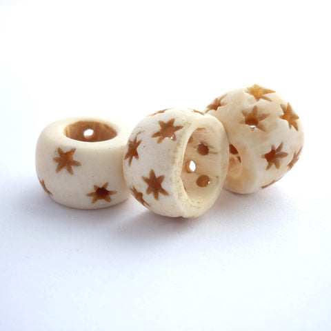 White Bone Dreadlock Bead with Stars