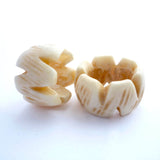 White Zig Zag Bone Dreadlock Bead