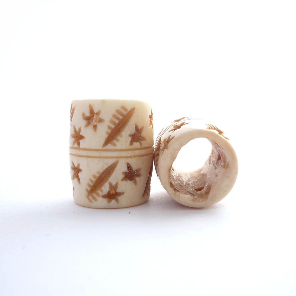 White Barrel Bone  Dreadlock Bead with Stars and Slashes