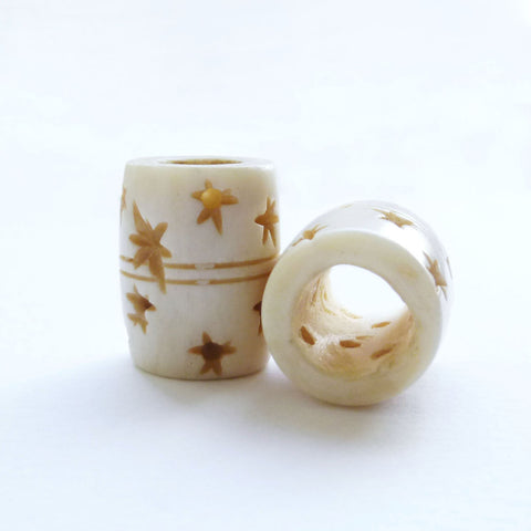 White Barrel Bone Dreadlock Bead with Stars