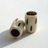 Tall White Bone Dreadlock Bead with Brown Stripes