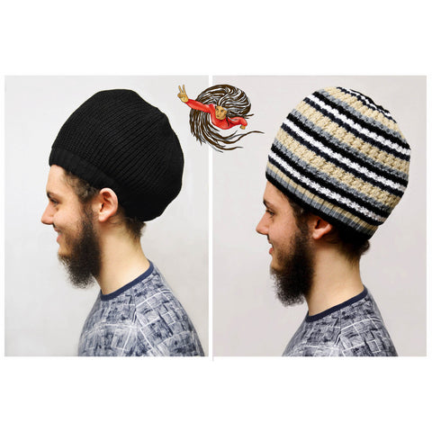Reversible Black Dreadlock Knitted Hat